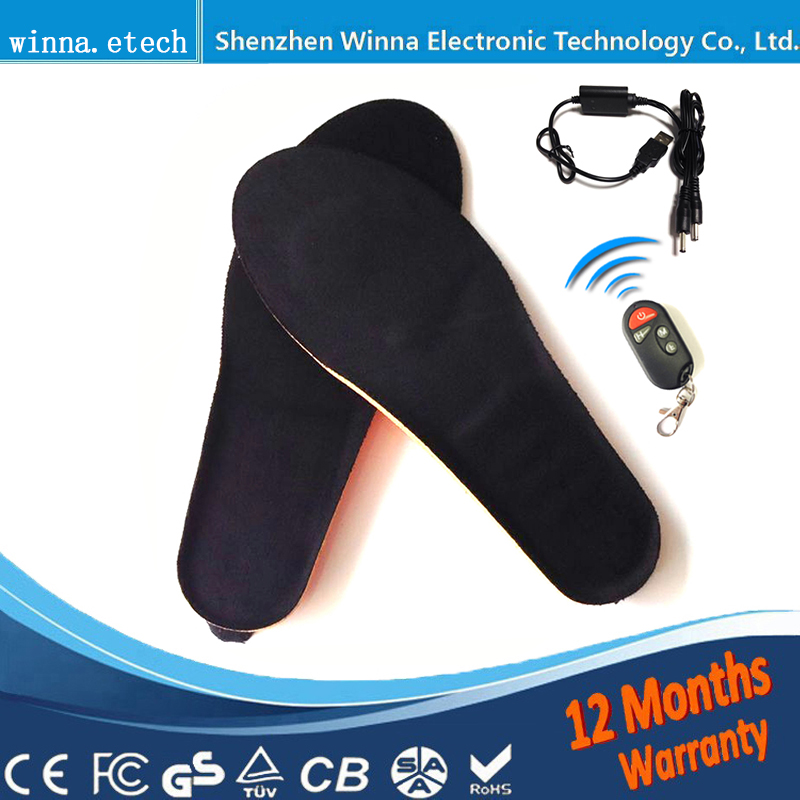 NEW arrival Wireless Heating Insoles winter Remote Control Battery Powered for men and women pink EUR Size 41-46
