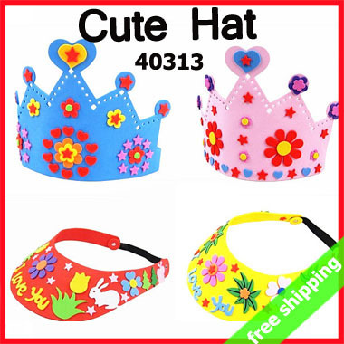 16Sets Handmade DIY EVA Hat Crown Sticker Production Art Craft Tool Children Kids Birthday Gift Activity