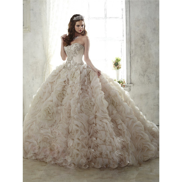 46ff3557150 Luxury Sweet 16 Dresses Princess Sweetheart Beaded Ruffle Long Train Ivory Quinceanera  Dresses Ball Gowns