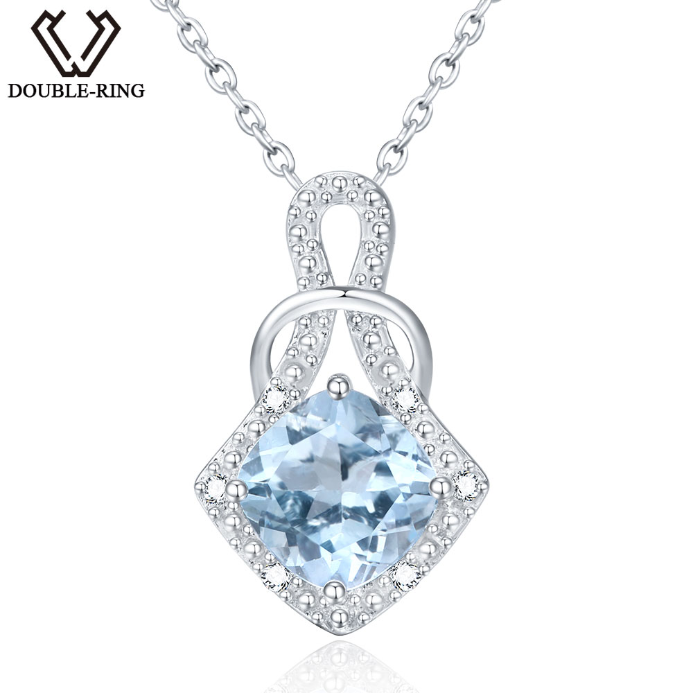 DOUBLE-R 2.4ct Natural stone Blue Topaz Pendants sterling-silver-jewelry Real 925 Sterling Silver Necklaces & Pendants for Women umcho 3 4ct genuine natural swiss blue topaz gemstone pendants necklaces for women pure 925 sterling silver necklace jewelry