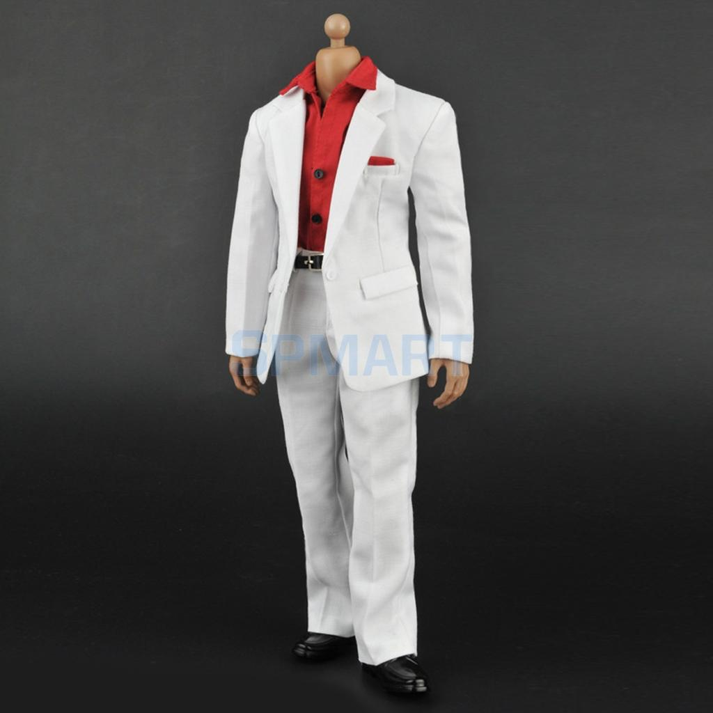 1/6 Scale Male White Suit Red Long Sleeve Shirt Pants & Belt Full Set for 12 Action Figure Clothes Accessories Hot Toys
