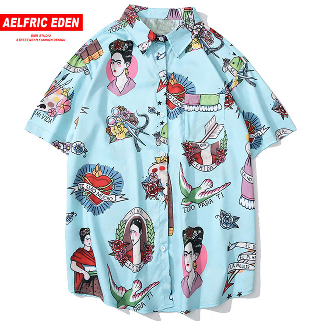 Aelfric Eden Creative Print Slim Fit Casual Shirts Men Women Summer Harajuku Short Sleeve Hawaiian Shirt 2019 Hip Hop Streetwear
