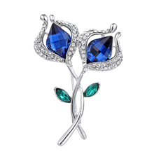 Double Rose Flower Brooch Pins Bridal Wedding Party Dress Clothing Brooch Pin Rhinestone Crystal Brooch For Women Jewelry