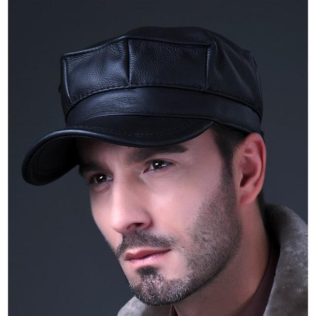 HL059 New Design Men's 100% Genuine Leather baseball Cap /Newsboy /Beret /brand Hat/ caps Golf Hat