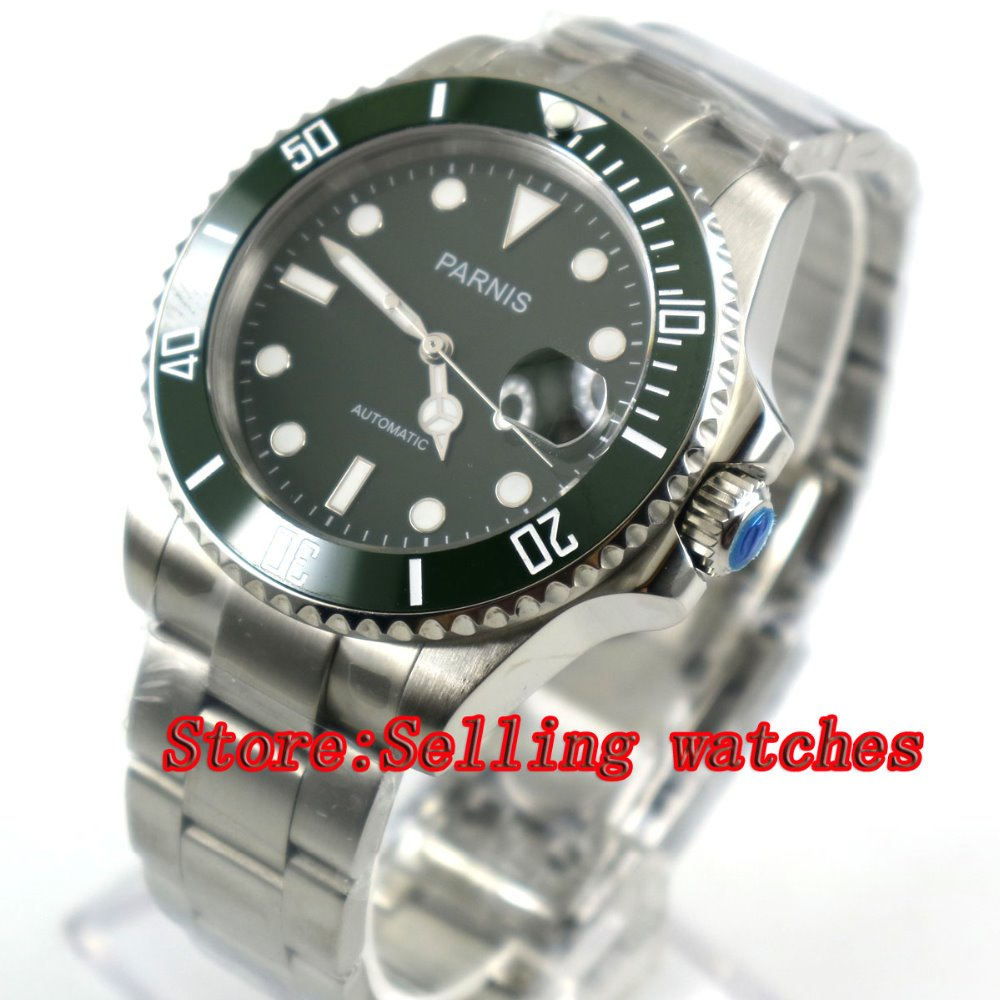лучшая цена Parnis 40mm Green Dial Sapphire Glass Ceramic Bezel 21 Jewels MIYOTA Automatic Movement Men's Watch