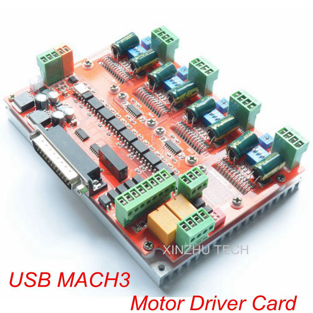 100K MACH3 CNC Router 4 3 Axis Stepper Motor Driver Card NV8727T4V4 With Parallel Port Cable