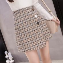 30a53468d 2019 Spring Summer New Plaid Skirt Women's Irregular Short Skirts High  Waist Single Breasted Office A