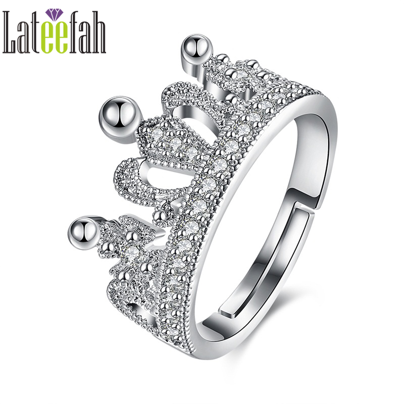 Lateefah Fashion Crown Rings for Women Micro Pave Cubic Zirconia White Gold Color Adjustable Princess Ring Anel Bijoux Bague