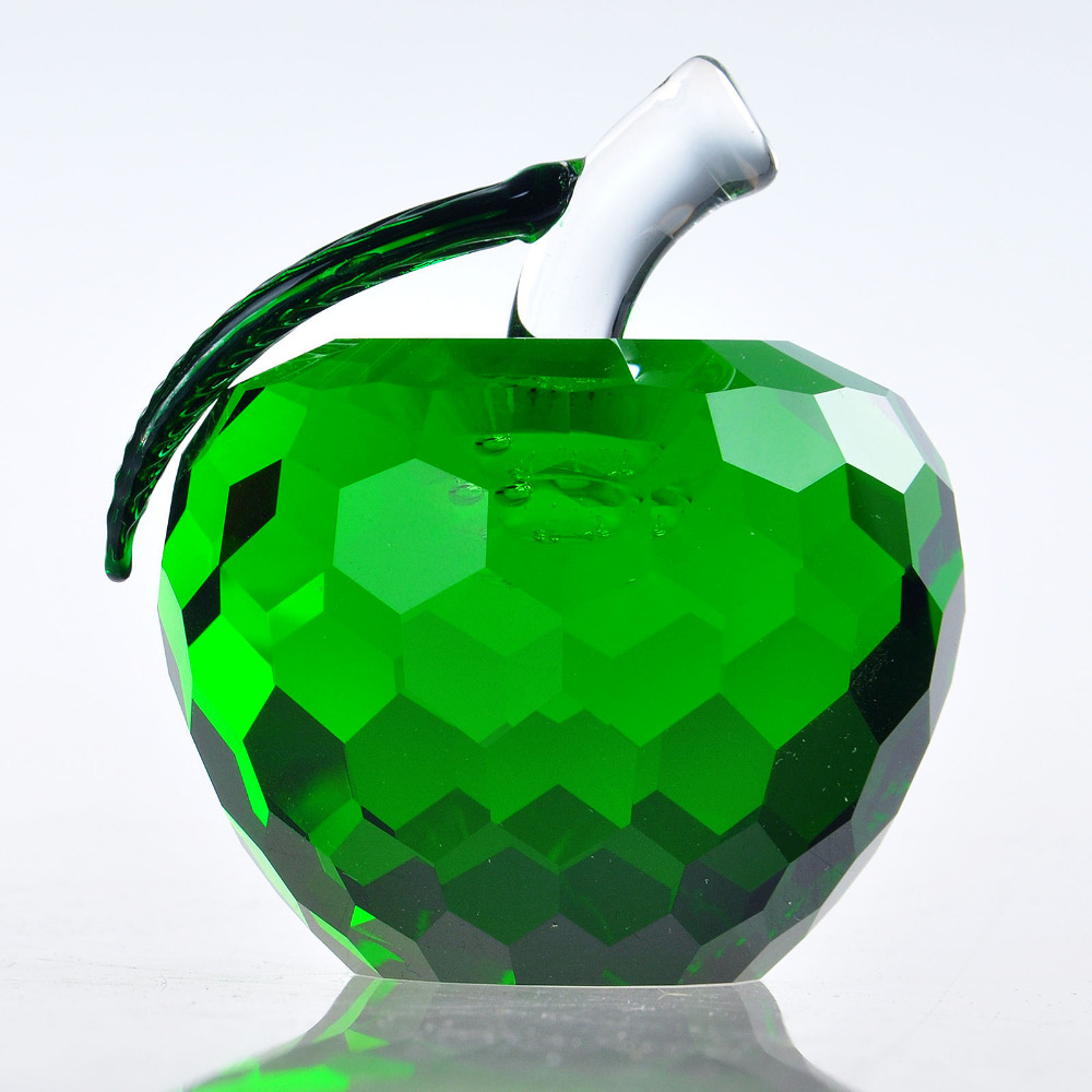 GreenCut Crystal Apple Paperweight Ornament in a Glass Dome Gifts Wedding Decor