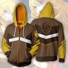 Cosplay 3D Printed Rwby Hoodies Fashionable Explosive Hottest Animation Zipper Cap Jacket Spring/Summer Costume Men