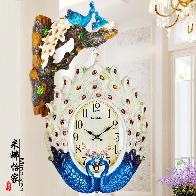 Туда Европейский Стиль ретро павлин двойной часы Часы творческая личность Гостиная настенные часы