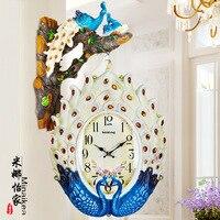 TUDA European Style Retro Peacock Double Clock Watches Creative Personality Living Room Wall Clock