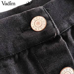 Image 4 - Vadim 女性のスタイリッシュなブラックデニムミディスカート段 faldas mujer タッセルボタンフライデザインポケット女性ソリッドシックなスカート BA606