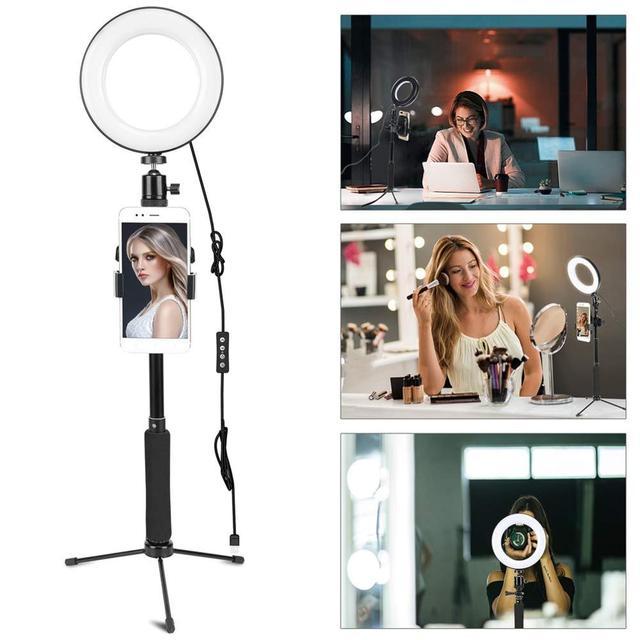 ZOMEI عكس الضوء LED مصباح مصمم على شكل حلقة مع تعديل Selfie عصا حامل و حامل هاتف ل Selfie ماكياج التصوير ضوء