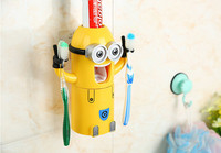 3 In1 Kids Cartoon Minions Toothbrush Holder Automatic Toothpaste Dispense Queezer Tooth Brush Cup Kit Bathroom