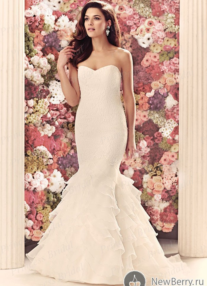 Free Shipping Hottest Design Fishtail Sweetheart Neckline Top Lace Fitted Bodice Bridal Gown Tiered Skirt Wedding Dress MF596