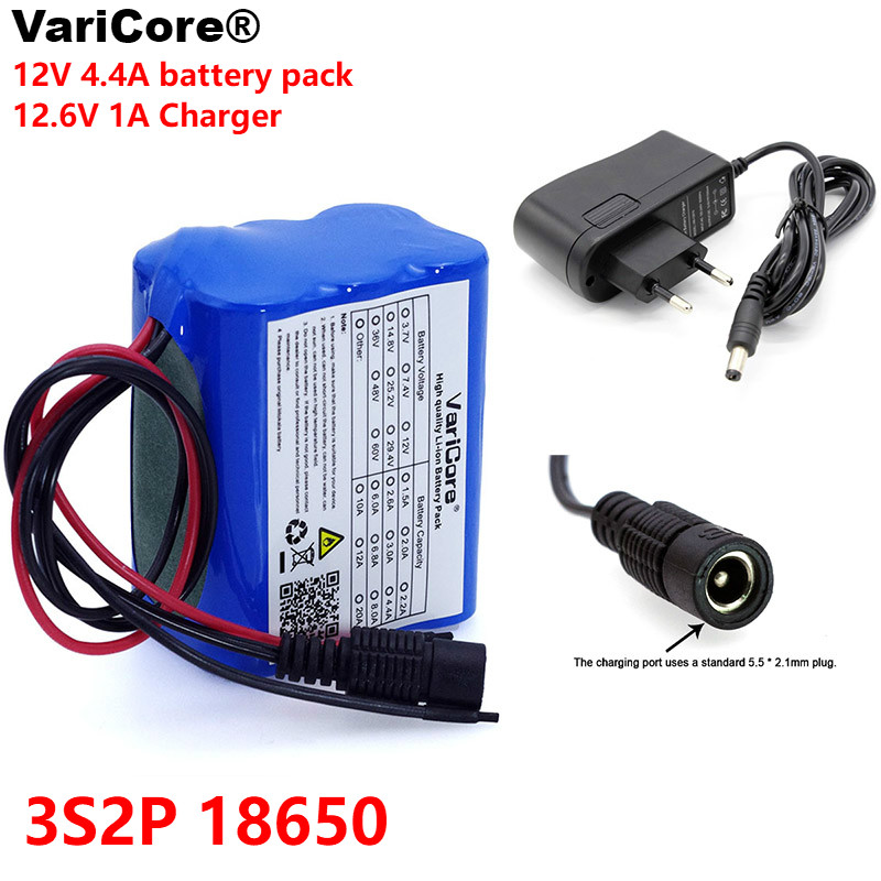 VariCore 12 v 4.4 Ah 4400 mAh 18650 batteries rechargeables 12 V avec batterie au Lithium BMS panneau de Protection + chargeur 12.6 V 1A