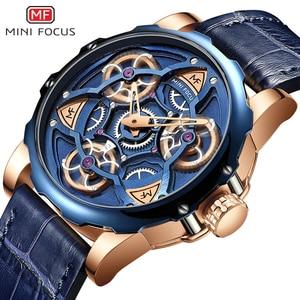 Image 2 - MINI FOCUS Blue Leather Quartz Watches Men Luxury Army Sports Wristwatch Man 3 Bar Waterproof Top Brand Relogios Masculino 0249G