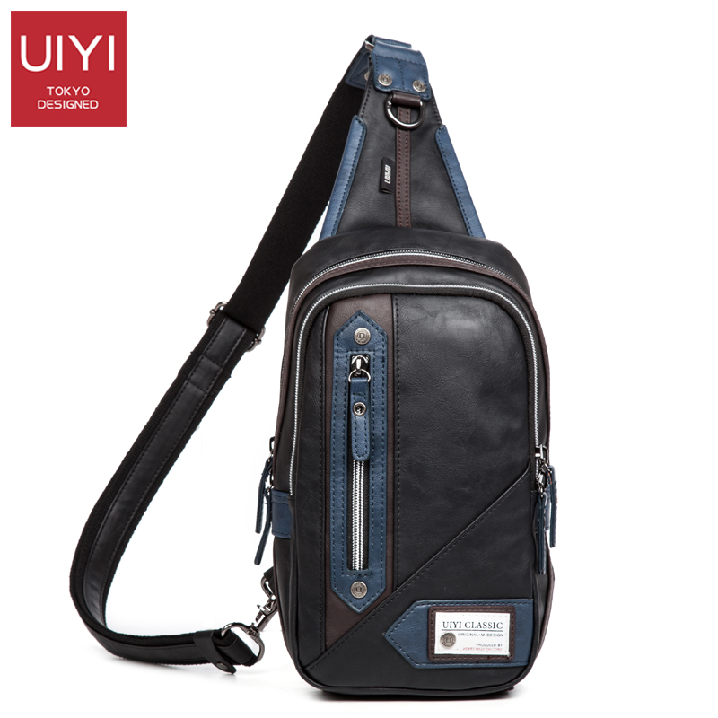 UIYI PU Leather Men Chest Bag Waterproof Chest Pack Men's Handbags Shoulder Bags Casual Male Bag Crossbody uiyi male pvc casual shoulder bag black chest bag for men shoulder