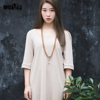 2016 Summer Women Casual Dress Long Sleeve O Neck Linen Cotton Solid Loose Fit Loose Long