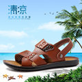 2016 New Men Leather Summer Sandals Beach Slippers Influx Men's Casual shoes Leather Shoes SIZE 39-44 Free Shipping