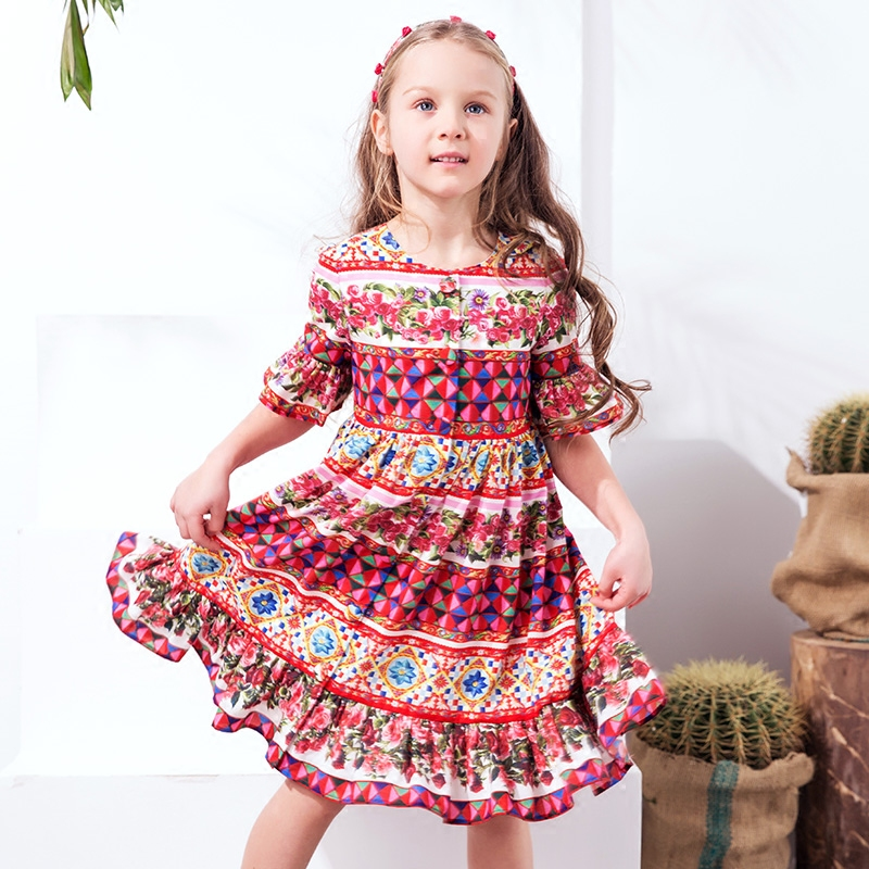 W.L.Monsoon Parent-child Girl dress Long dress Open Beach dress Summer dress Mother dress Bohemia Big swing dress Bell flamingo patch zipper swing dress