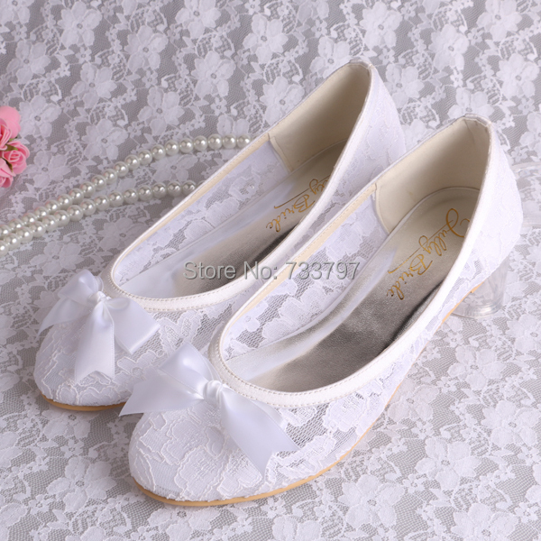 Wedopus Small Size 34 White Lace Ballet Flats Bridal Wedding Shoes Women with Bows