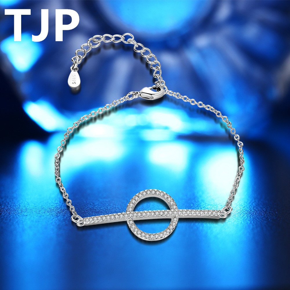 TJP Shiny Clear Crystal Stones Women Bracelets Accessories Fashion Silver 925 Girl Lady Bracelet Party Jewelry Hot Bride Bijou