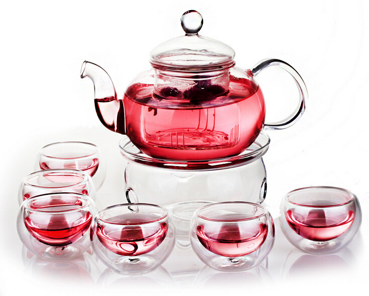 Borosilicate Tea Pot Set Infuser Teapot Warmer 6 Double Wall Tea Cups