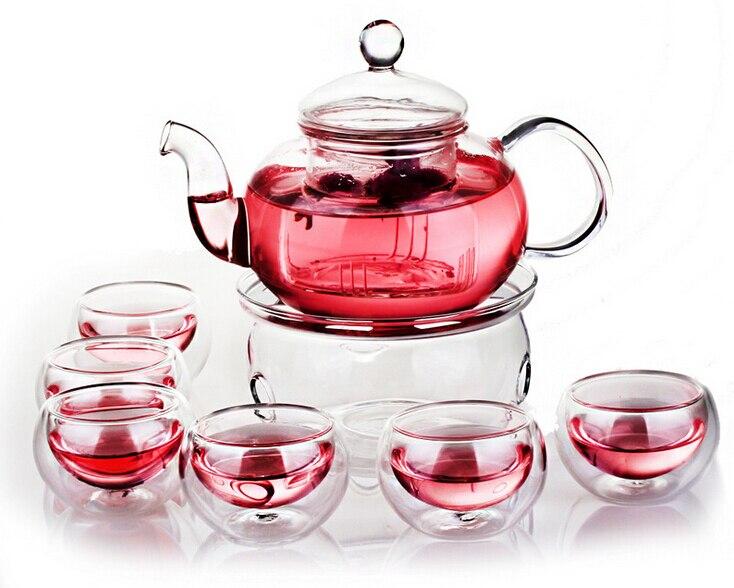Borosilicate Glass Tea Pot Set Infuser Teapot Warmer 6 Double Wall Tea Cups