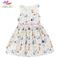 Belababy Girls Dress 2017 Summer Cute Style Baby Girl Clothes Sleeveless Cartoon Bunny Print Dress Sundress for Kids Clothes
