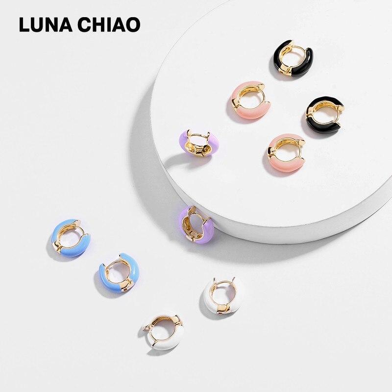 LUNA CHIAO New Design Popular Enameled Cooper Mini Hoop Earring Summer Ear Cuffs for Women Ямча