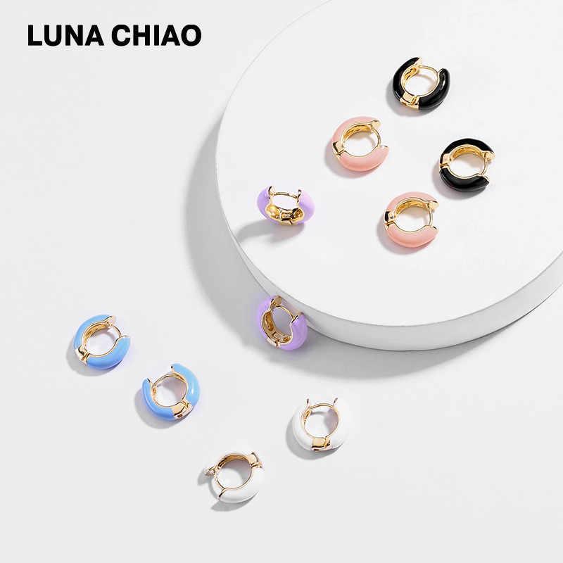 LUNA CHIAO ใหม่ออกแบบยอดนิยมเคลือบ Cooper Mini Hoop ฤดูร้อนต่างหูข้อมือหูสำหรับสตรี