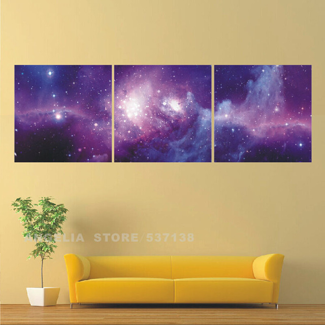 Canvas Art Purple Unframed 3 Panels Modern Abstract Fantasy Melody ...