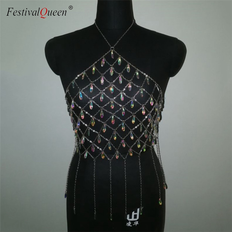 f4dcaa09cb1f1 Detail Feedback Questions about FestivalQueen glitter crystal sequin crop  top women shiny sexy halter backless metal chain cropped club tops for lady  on ...