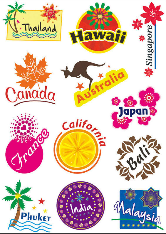 Yourart Travel Country Stickers Nejlepší módní zavazadla Travel Stickers for Suitcases Decors Signs Popular Country Cities to Visit