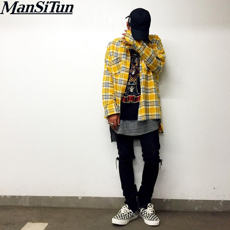 New justin bieber FEAR OF GOD flannel Scotland grid long sleeve shirts Hiphop extended curved hem oversized Men shirt Red yellow