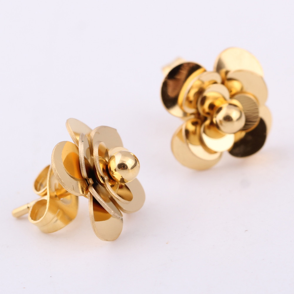 Fashion Women Earrings 316LStainless Steel Rose Gold Flower Stud Earrings 7