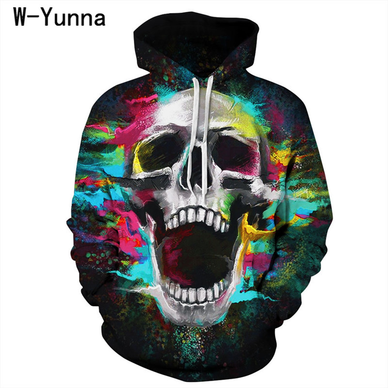 W-Yunna 2018 Gothic New Autumn Bts Hoodies Skull Print Rock Hip Hop Hoodies for Women/men Harajuku Fashion Streetwear Moletom