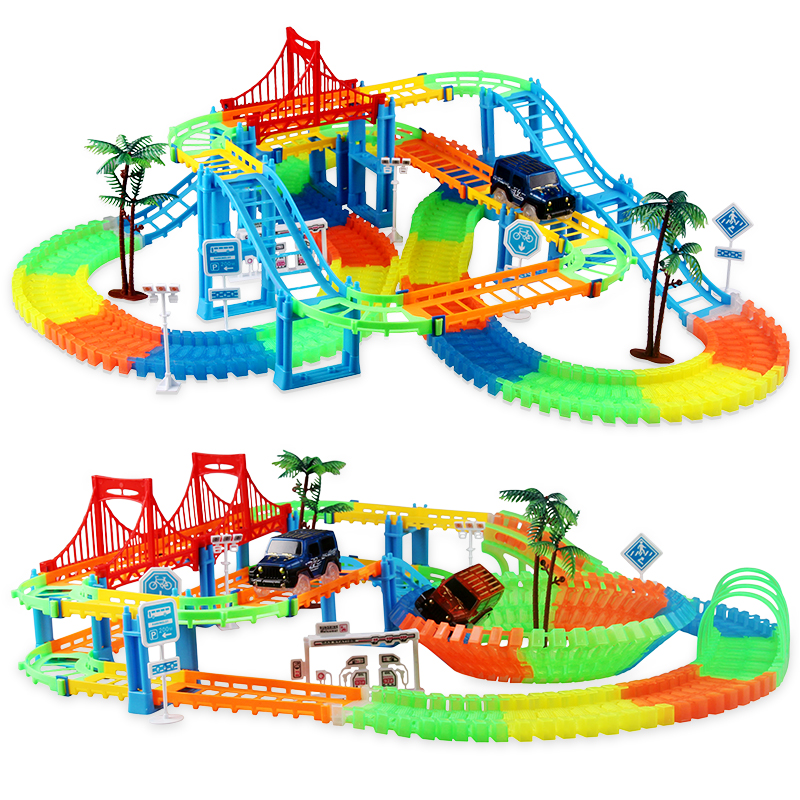 Glowing Assembly DIY Flexible Racing Track Electronic Flash Light Car Railway Magical Racing Track Play Set Toys For Children