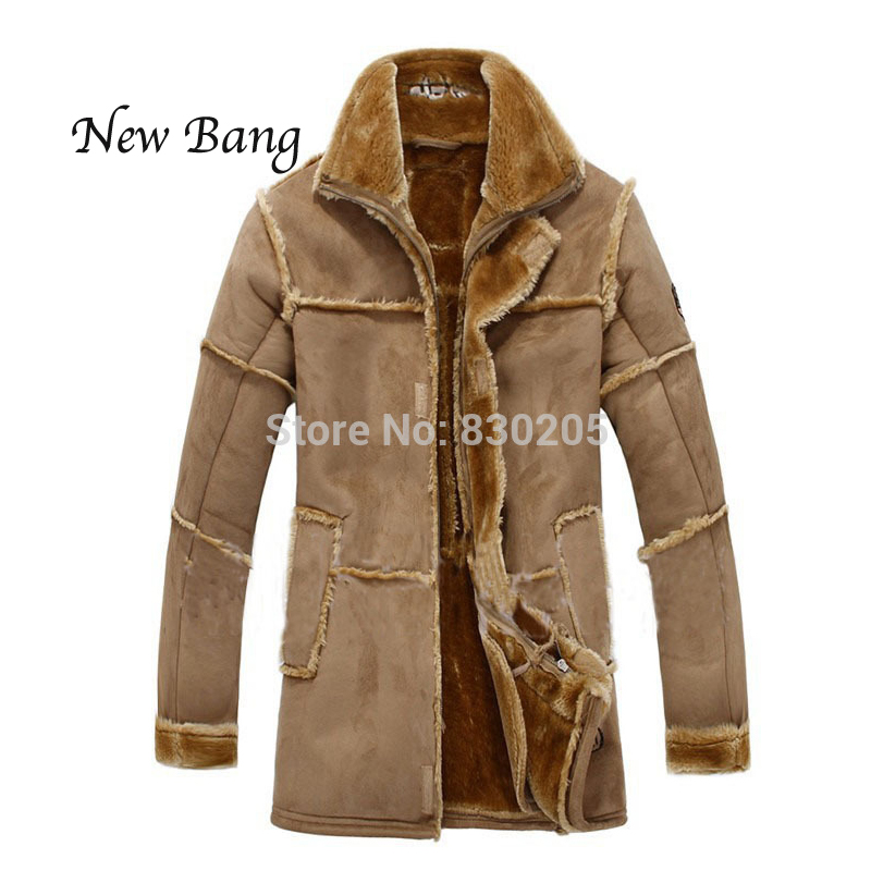 2017 Fashion Men Winter Leather Jacket Brown Leather Jacket Big Size Faux Fur Lined Coats Winter Faux Leather Jacket 3 Colors