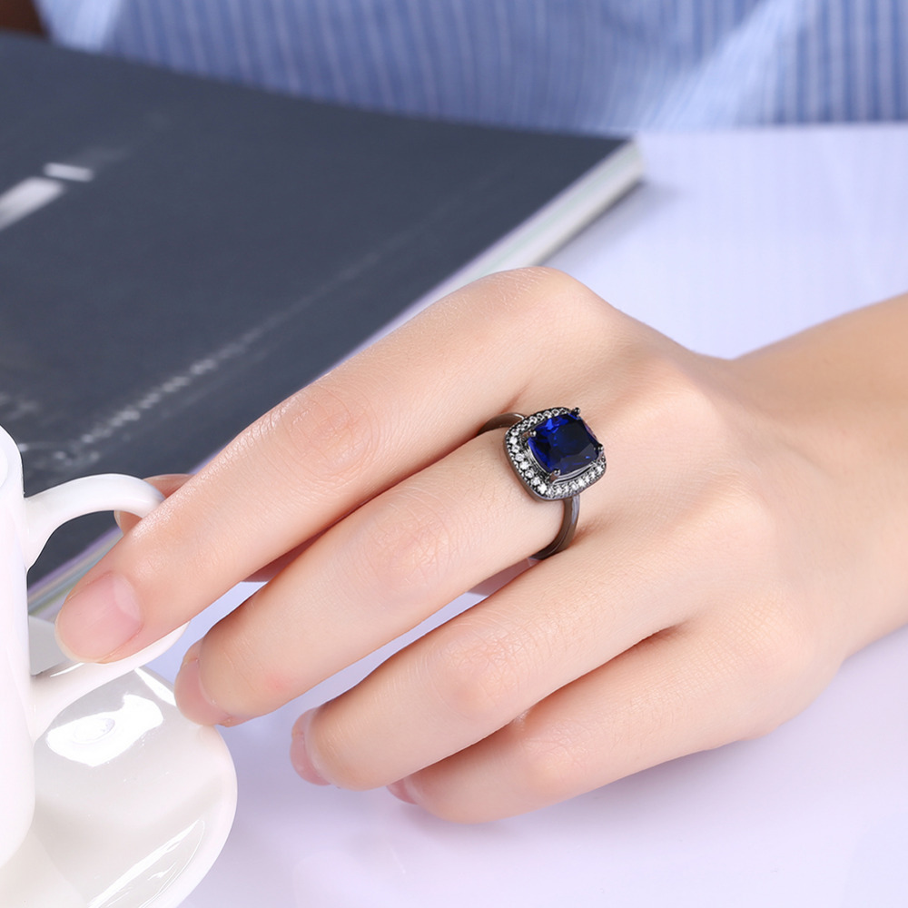 Simple Black Gun Plated Rings For Men / Women Royal Blue Square ...