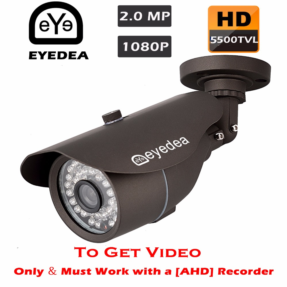 Eyedea 2.0MP 1080P 5500TVL Night Vision Black Bullet Outdoor Waterproof Video Surveillance CCTV Security Camera for AHD Recorder eyedea 16ch video dvr recorder hd 1080p bullet black outdoor cmos night vision business cctv security camera surveillance system