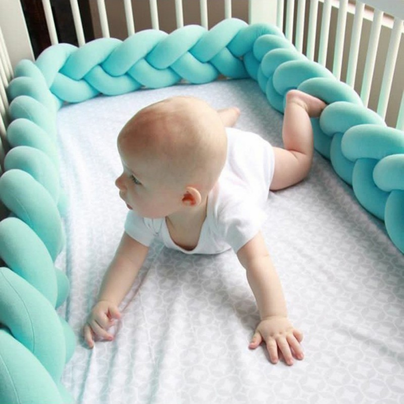 100/200cm Baby Bed Bumper Pure Color Weaving Plush Baby Crib Protector For Newborns Baby Room Decoration