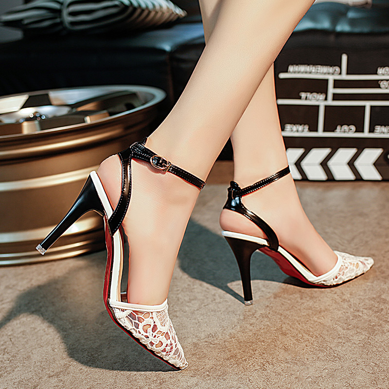 Kjstyrka Lace Mesh High Heels Shoes Woman Pumps Black Stiletto Pointed Toe Sandals Sexy Women Shoes Designer Zapatos Mujer zapatos mujer pointed toe thin high heels sandals mixed color single shoes woman stiletto dress women pumps 2018