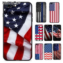 MaiYaCa Blue Line American US Flag design Cute Phone Case for iphone 11 Pro 8 7 6 6S Plus X 5 5S SE us national flag style protective epoxy back case for iphone 5 5s red blue