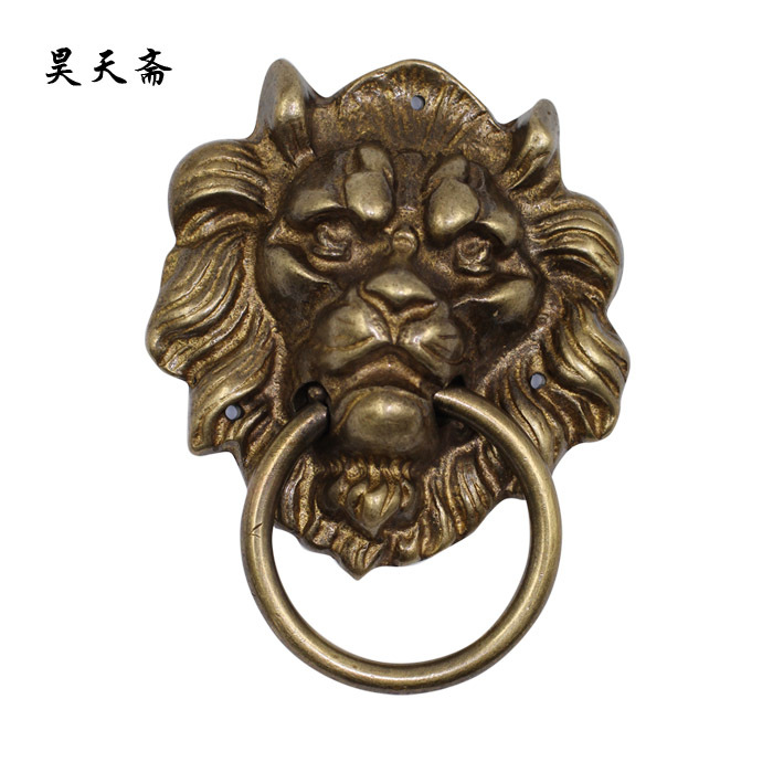 ФОТО [Haotian vegetarian] copper beast knocker / Chinese antique door knocker faucet / copper goalkeeper handle HTA-052