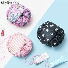 De moda de las mujeres de maquillaje organizador cosméticos hacer bolsa de almacenamiento de maquillaje de belleza Kit de caja de bolsa de lavado Cajas Flamigo