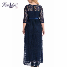 High Quality Women Elegant O-neck Belted Party Lace Dress Plus Size 7XL 8XL 9XL Half Sleeve Vintage Long Maxi Dress