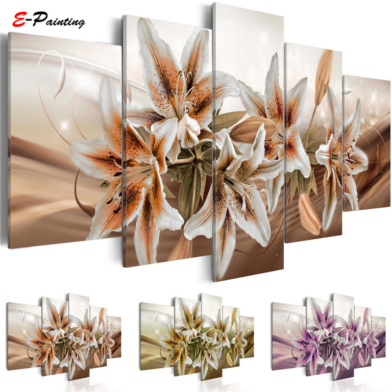 Modern Canvas Painting 5 Pieces Wall Art Delicate Background Beautiful Lily Flowers Paintings Living Room Decor Picture